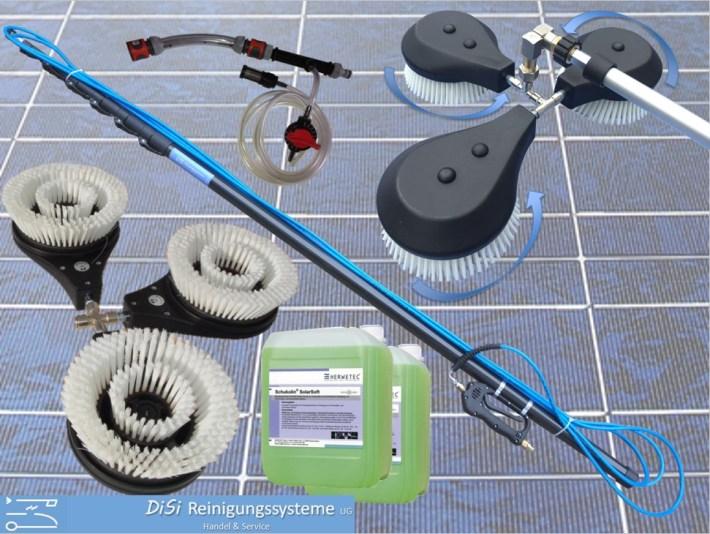 Photovoltaik-Solar-Reinigungsset-Teleskplanze-Waschbürste-Entkalker-Injektor