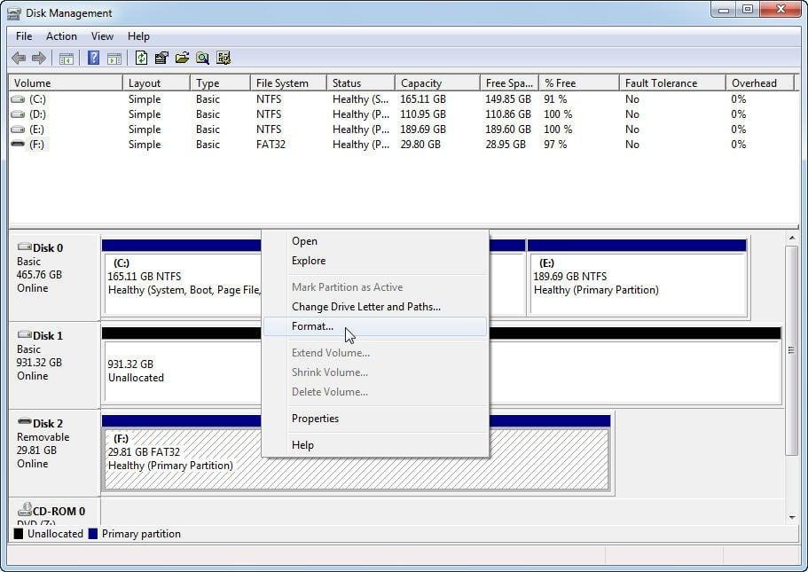 Disk Management Format USB