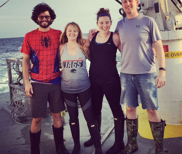 Krause Lab Members On Board The R V Pelican May 2017 R L Israel Marquez Sydney Acton Rebecca Pickering Jeffrey Krause