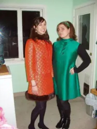 Dismantle editors, Elise and Sara. Two women in orange and green dresses from mid-1960s