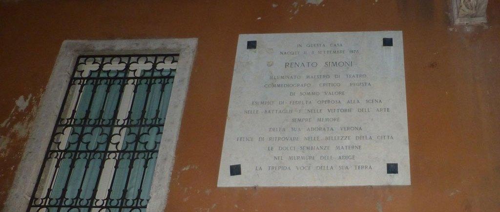 targa commemorativa renato simoni casa natale via leoncino verona