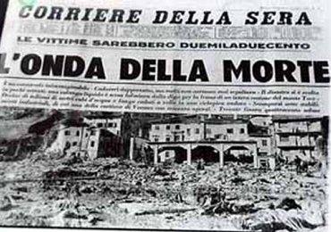 tragedia del vajont 9 ottobre 1963 prima pagina corriere della sera