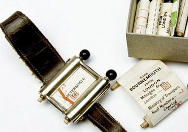 "Invented in 1920′s this could be world's first navigation system. No satellites or digital screens were used in the making of this portable navigation system. Called Plus Fours Routefinder, this little invention was designed to be worn on your wrist, and the ""maps"" were printed on little wooden rollers which you would turn manually as you drove along."
