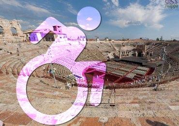 Icona dinamica dismappa del logo accessibilità disabili e veduta panoramica dell'Arena di Verona