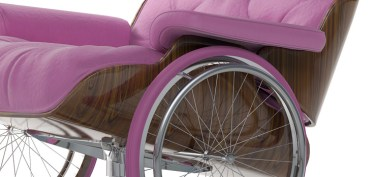 designer david pompa created this classic wheelchair design for the vassal centre as part of his inclusive objects series. pompa questions why design icons are predominantly for an exclusive range of our society. to tackle this issue he added wheelchair wheels to a number of antiques and design classic like the lounge chair by ray and charles eames. while the design is only a concept, it makes you think about the design of chairs versus that of wheelchairs.
