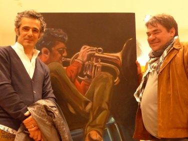 Paolo Fresu con Andrea Sambugaro, autore del ritratto