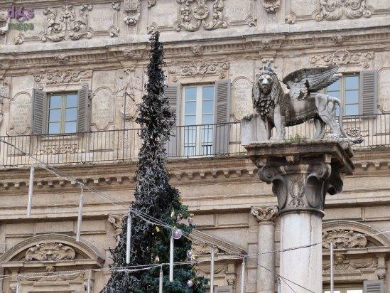 20140103 Albero di Natale bruciato Palazzo Maffei Verona