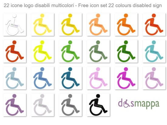 free icon set disabled handicap sign 22 colours logo disabili dismappa