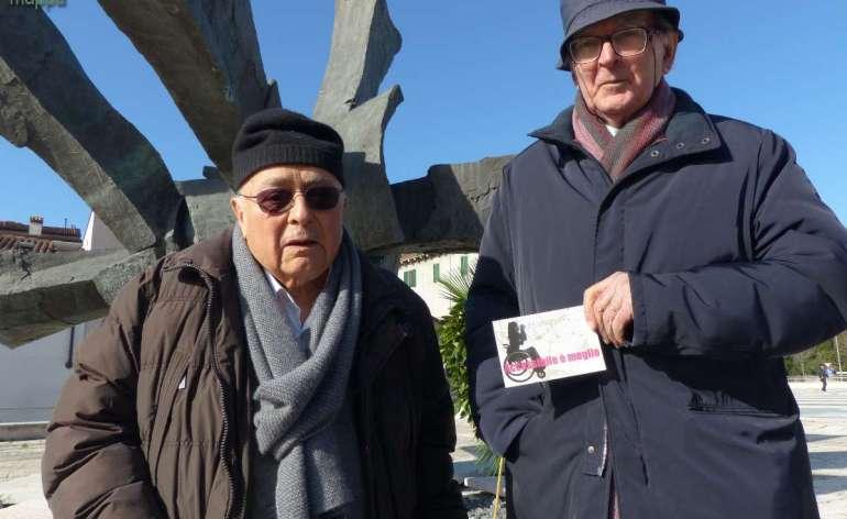 Dopo la commemorazione per le vittime della Shoah stamattina in Piazza Isolo, Dario Basevi e Pino Castagna hanno testimoniato anche per dismappa, davanti alla scultura voluta dal primo e realizzata da Castagna