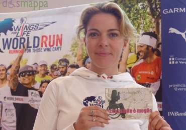 L'attrice Claudia Gerini, ambasciatrice della Wings for Life World Run a Verona, testimone di accessibilità per dismappa