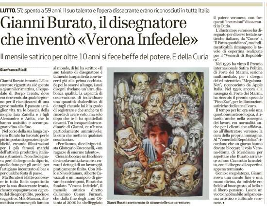 Gianni Burato illustratore e fondatore di Verona Fedele è morto a 59 anni. Articolo l'Arena 18 ottobre 2015