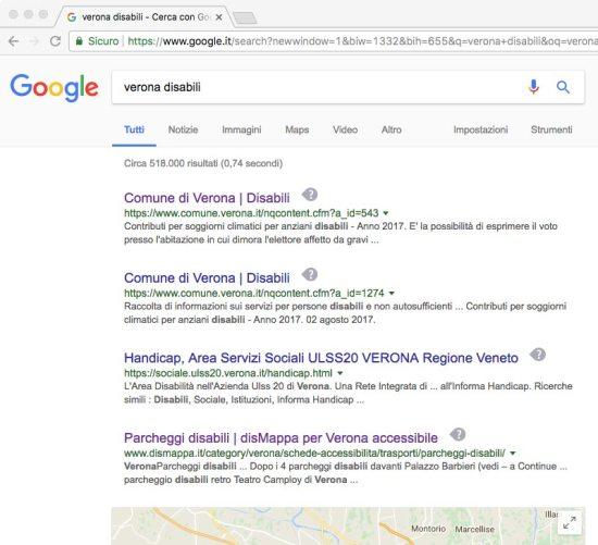 Verona disabili schermata ricerca google dismappa