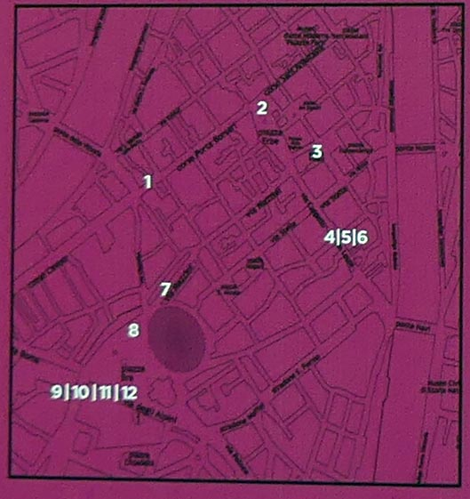 mappa delle opere in marmo in centro città a Verona per Marmomac and the City 2017