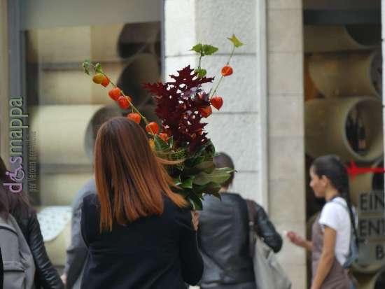 Vista in via Oberdan a Verona, questa composizione floreale ispirata all'autunno in cui spicca il ramo con le belle bacche di alkekengi