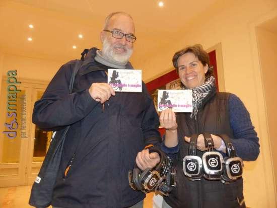 Carlo Presotto e Sara Coppan de La piccionaia testimoni di accessibilità per dismappa al termine della passeggiata urbana Silent Fireflies