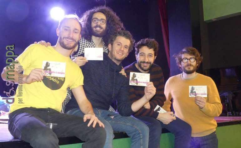 Luca Mammoli, Andrea Panigatti, Enrico Pittaluga e Graziano Sirressi, attori e autori di Generazione disagio, frizzantissimi testimoni di accessibilità