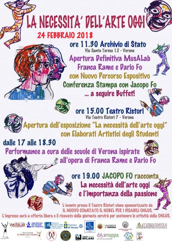 Volantino Musalab Dario Fo Franca Rame Verona 2018