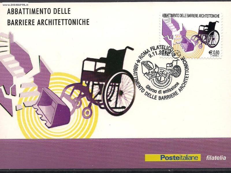 Francobolli a tema disabilità, carrozzine