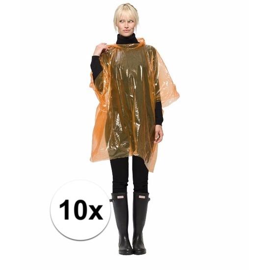 10 oranje wegwerp regencapes