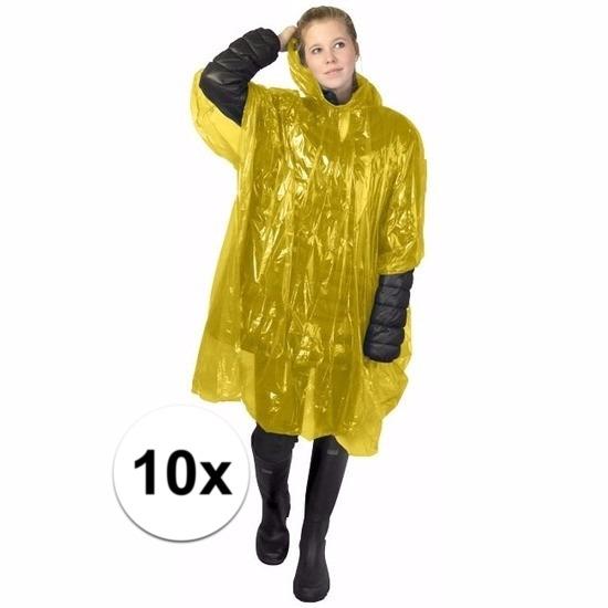 10x gele wegwerp regencapes