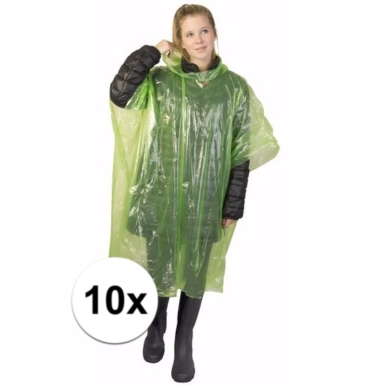10x groene wegwerp regencapes