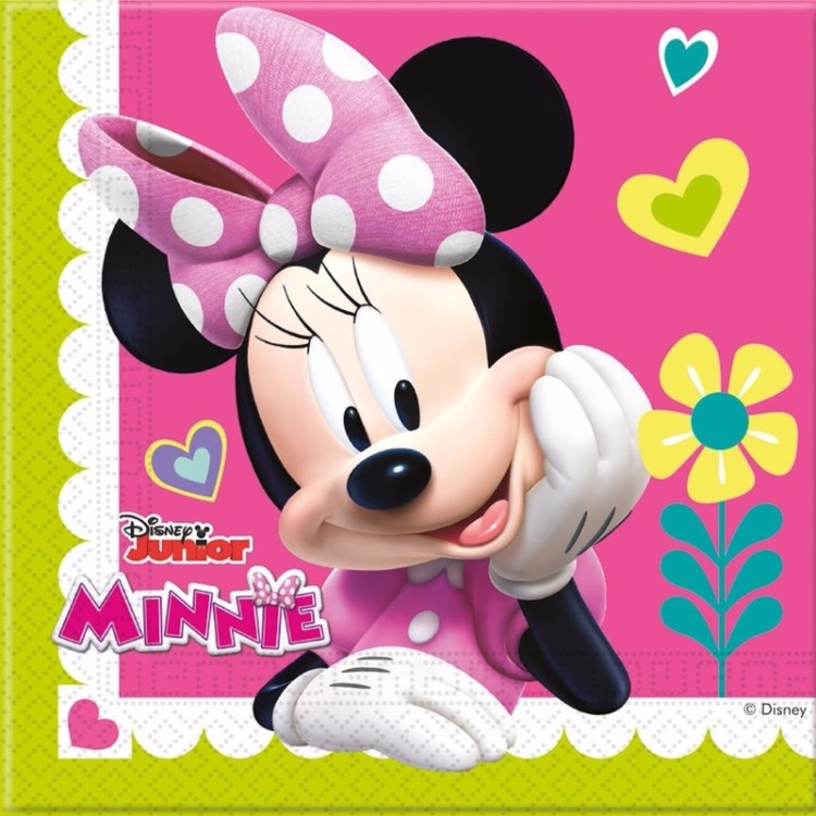20x Minnie Mouse themafeest servetten 33 x 33 cm papier