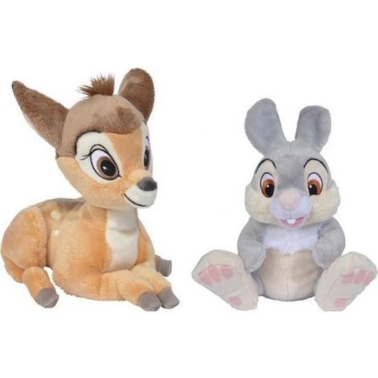 2x Disney Bambi en Stampertje knuffels 18/24 cm speelgoed set