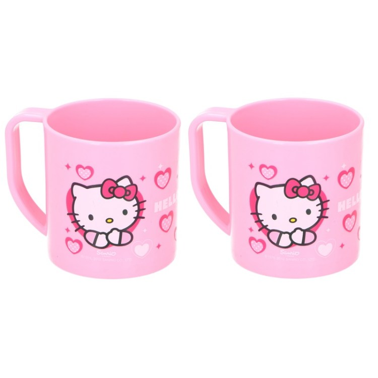 2x Hello Kitty Disney mokken onbreekbare drinkbekers lichtroze