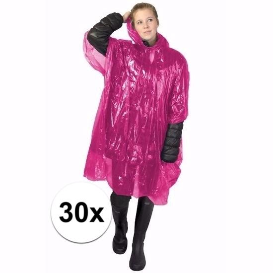 30x roze wegwerp regencapes