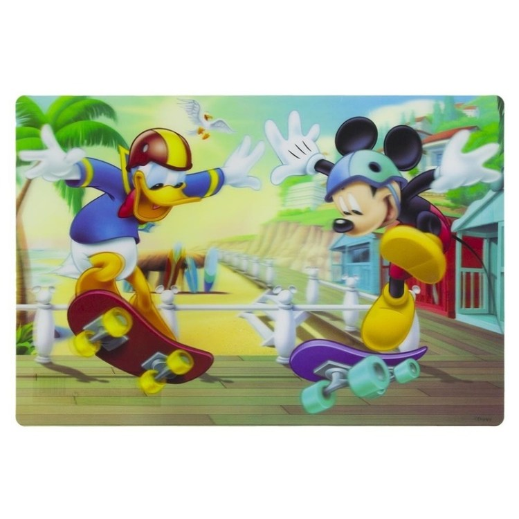 3D placemat Mickey en Donald skateboarden