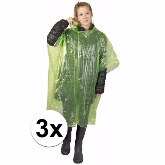 3x groene wegwerp regencapes