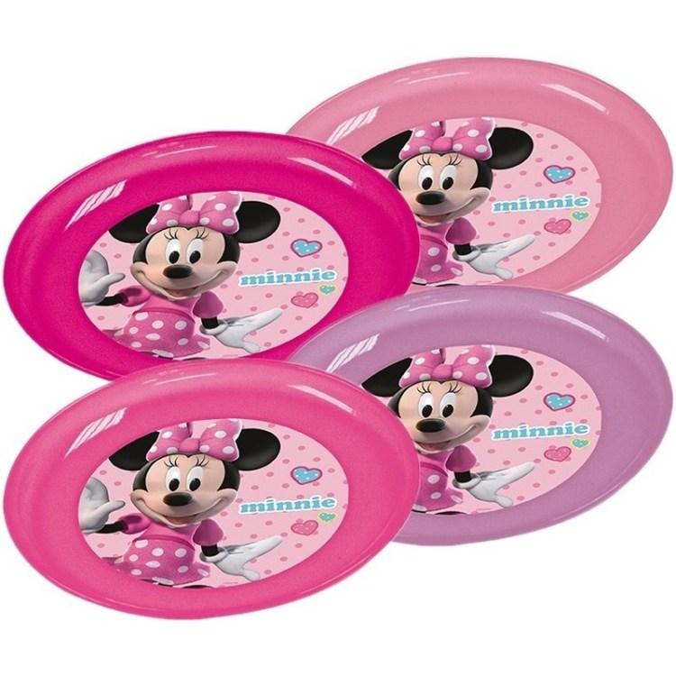 4x Plastic Disney Minnie Mouse bordjes