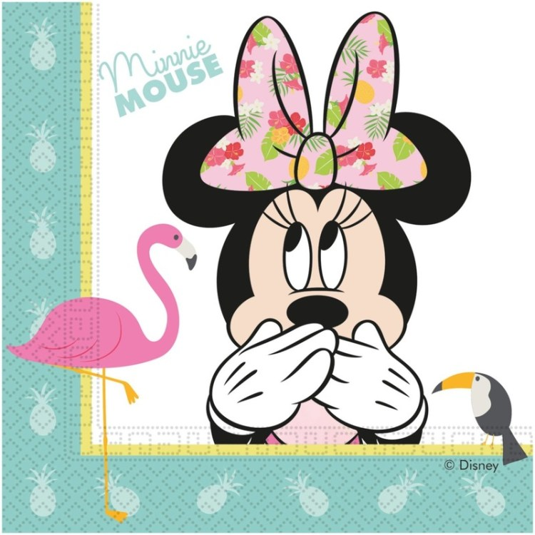 60x Disney Minnie Mouse tropical themafeest servetten 33 x 33 cm