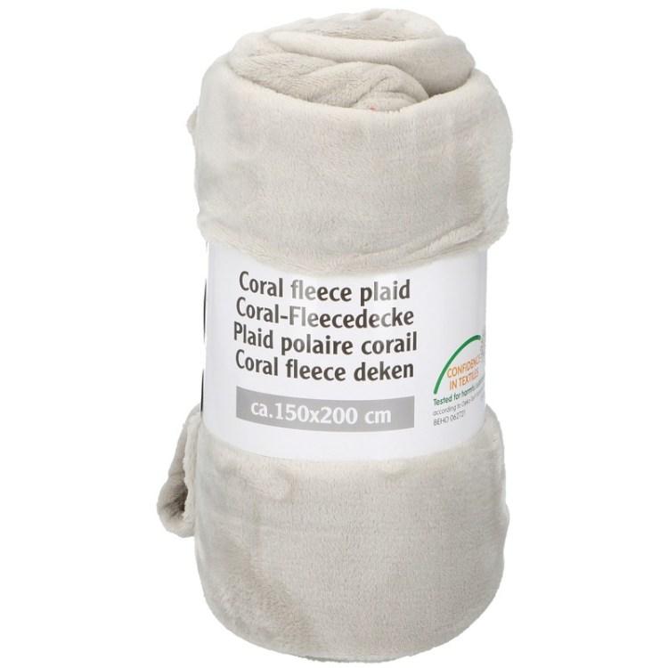 Creme fleece deken 150 x 200 cm