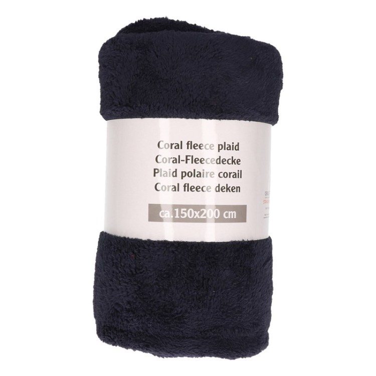 Donkerblauwe fleece deken 150 x 200 cm