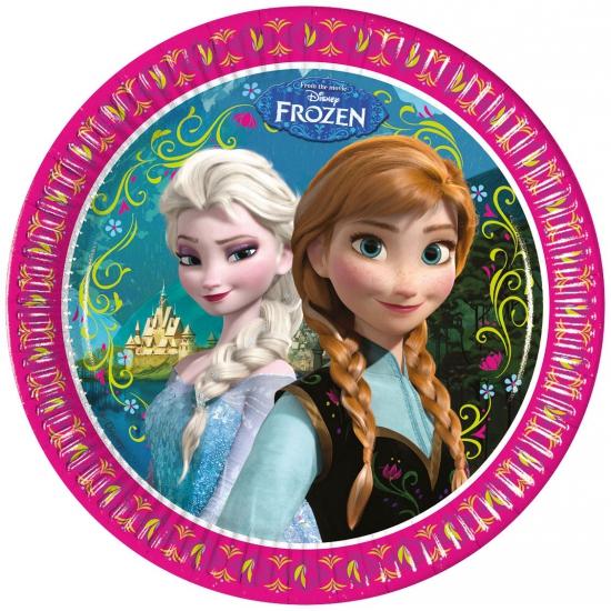 Feestelijke bordjes met plaatjes van Frozen 8 stuks