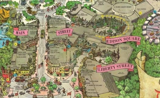 Ausschnitt einer Karte von Disneyland mit Edison Square und Liberty Street rechts von der Main Street
