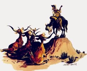 Sketch-Zeichnung eines singenden Cowboys mit seinen Kühen von Marc Davis für Western River Expedition