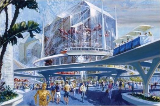 Disneylands Tomorrowland mit C3-PO und einer riesigen, kristallinen Struktur im Hintergrund für den nie gebauten LucasPort