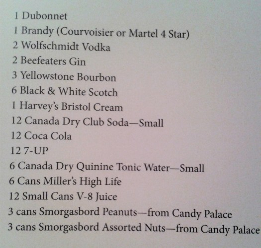 1 Dubonnet, 1 Brandy, 2 Wolfschmidt Vodka, 2 Beefeaters Gin, 3 Yellowstone Bourbon, 6 Black & White Scotch, 1 Harvey's Bristol Cream, 12 Canada Dry Club Soda Small, 12 Coca Cola, 12 7-Up, 6 Canada Dry Quinine Tonic Water Small, 6 Cans Miller's High Life, 12 Small Cans V-8 Juice, Peanuts and Assorted Nuts