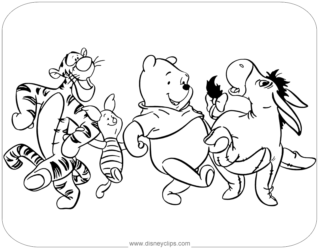 Winnie The Pooh Mixed Group Coloring Pages 2