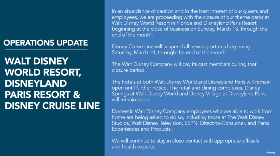 Disney Statement regarding Park/Cruiseline Closures