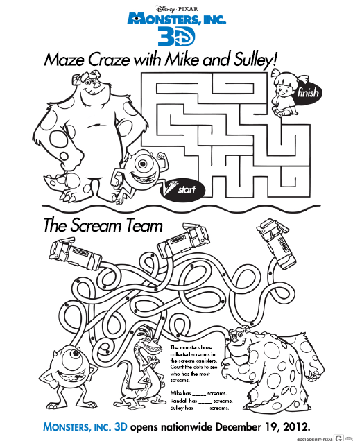 disney monsters inc 3d activity and coloring sheets disney every day