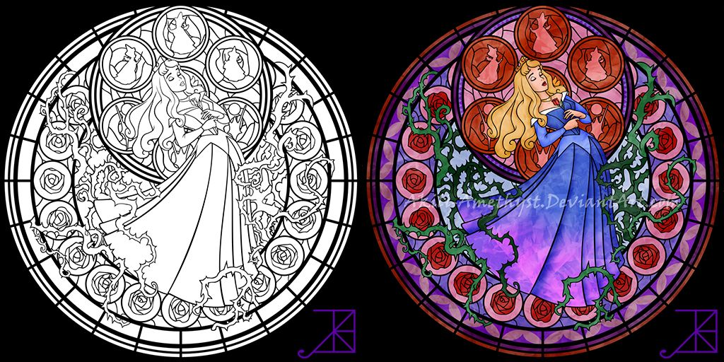Stained Glass Disney Coloring Pages By Akili Amethyst