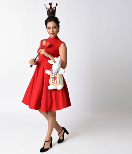 1950s_style_red_high_neck_sleeveless_swing_dress