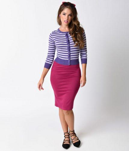 vintage_style_magenta_stretch_knit_high_waist_pencil_skirt