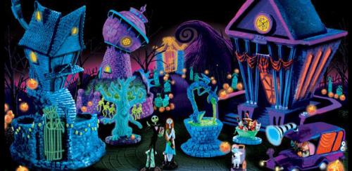 Nightmare Before Christmas Black Light Village - Hauntingly Beautiful The Nightmare Before Christmas Black Light Village