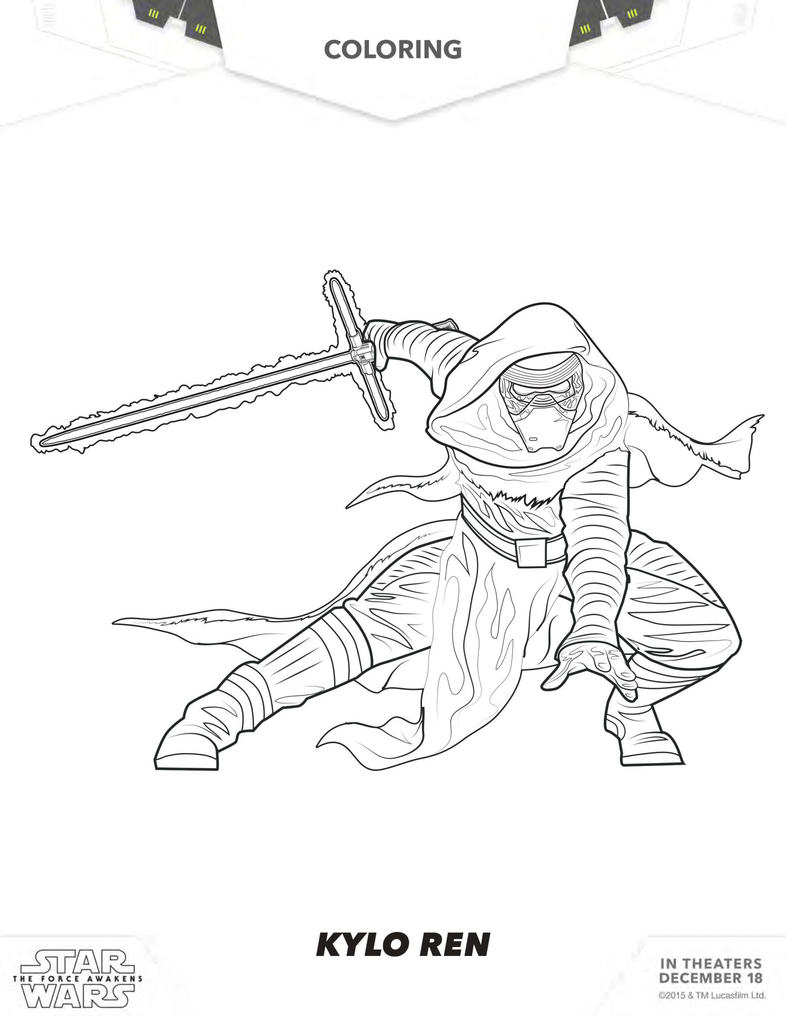 Kylo Ren Coloring Pages - Best Coloring Pages For Kids | 2048x1583