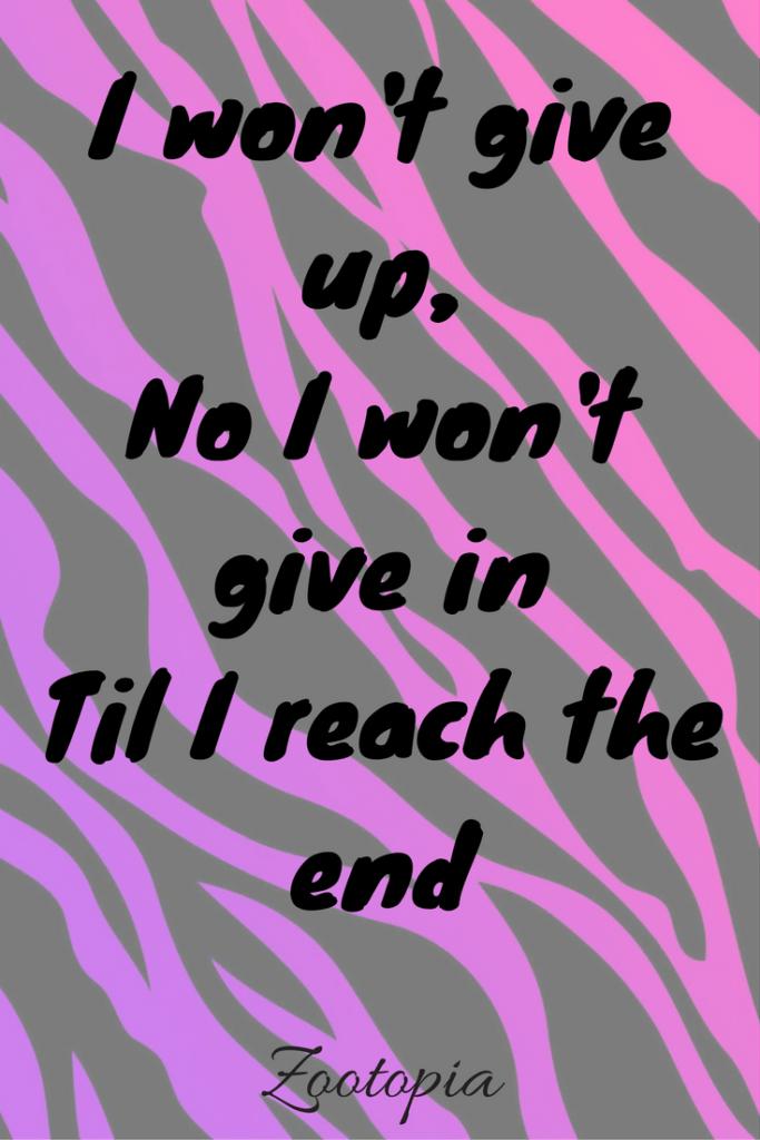 I wont give up i in disney