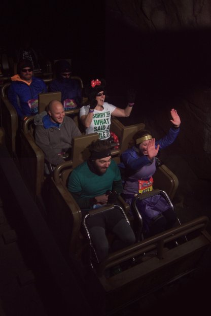 Riding a roller coaster in the middle of a marathon!